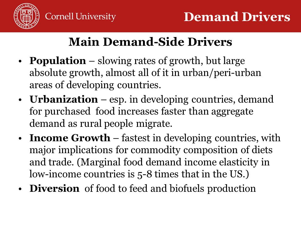 Main Demand-Side Drivers Population – slowing rates of growth, but large absolute growth, almost all of it in urban/peri-urban areas of developing countries.