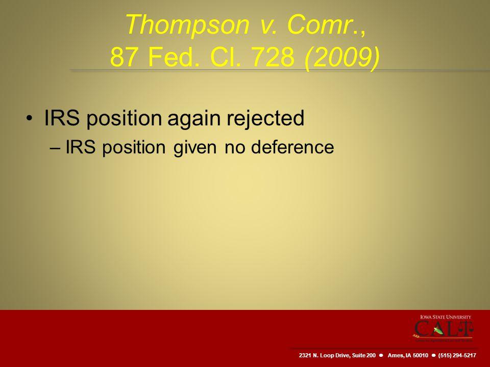2321 N. Loop Drive, Suite 200  Ames, IA 50010 (515) 294-5217 Thompson v.