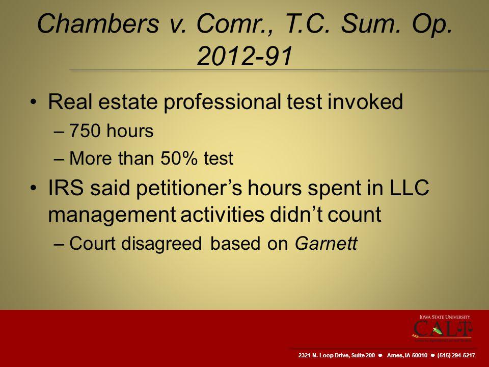 2321 N. Loop Drive, Suite 200  Ames, IA 50010 (515) 294-5217 Chambers v.