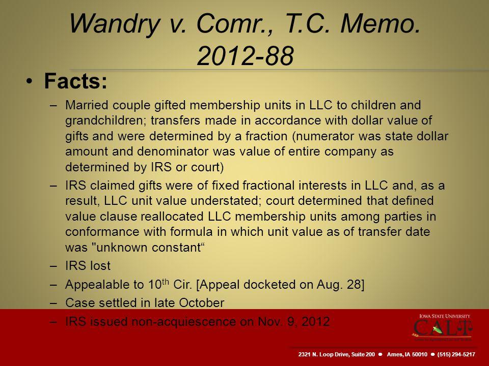 2321 N. Loop Drive, Suite 200  Ames, IA 50010 (515) 294-5217 Wandry v.