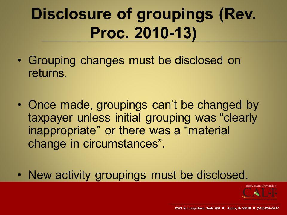 2321 N. Loop Drive, Suite 200  Ames, IA 50010 (515) 294-5217 Disclosure of groupings (Rev.