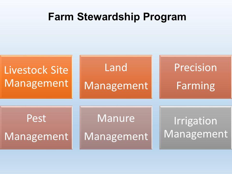 Farm Stewardship Program Livestock Site Management Land Management Precision Farming Pest Management Manure Management Irrigation Management