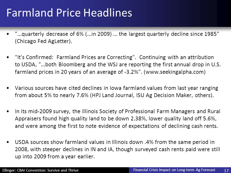 Ellinger: CBAI Convention: Survive and Thrive Financial Crisis Impact on Long-term Ag Forecast Farmland Price Headlines