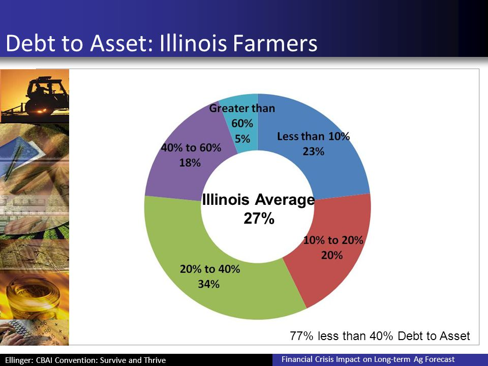 Ellinger: CBAI Convention: Survive and Thrive Financial Crisis Impact on Long-term Ag Forecast Debt to Asset: Illinois Farmers Illinois Average 27% 77