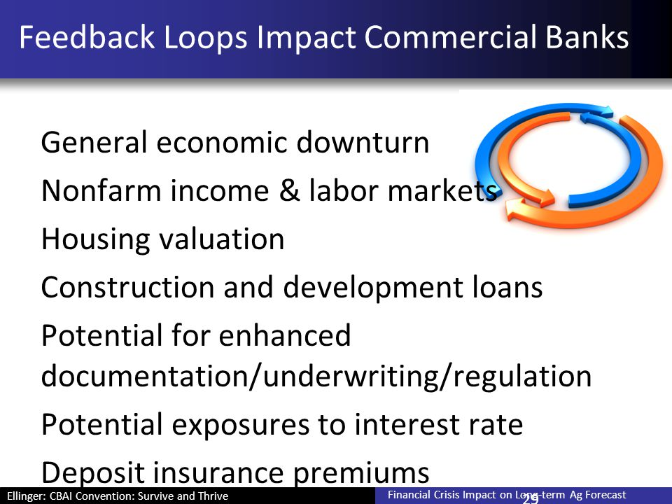 Ellinger: CBAI Convention: Survive and Thrive Financial Crisis Impact on Long-term Ag Forecast Feedback Loops Impact Commercial Banks General economic