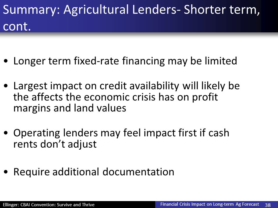 Ellinger: CBAI Convention: Survive and Thrive Financial Crisis Impact on Long-term Ag Forecast 38 Summary: Agricultural Lenders- Shorter term, cont. L