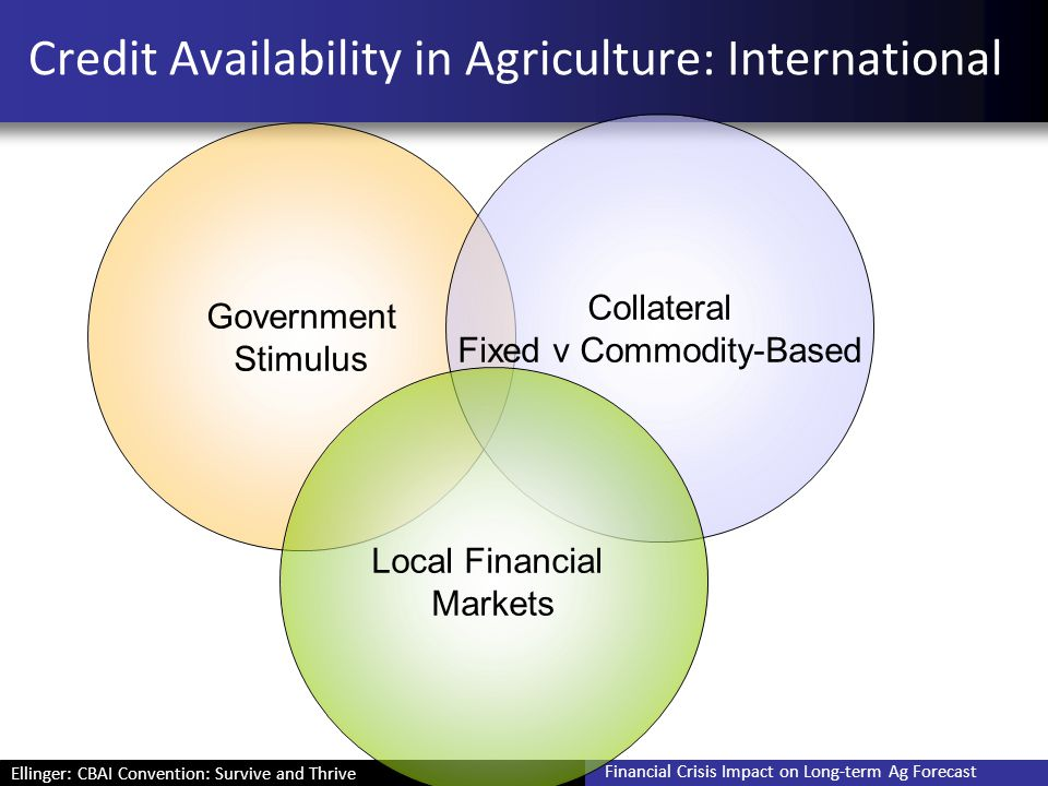 Ellinger: CBAI Convention: Survive and Thrive Financial Crisis Impact on Long-term Ag Forecast Credit Availability in Agriculture: International Gover