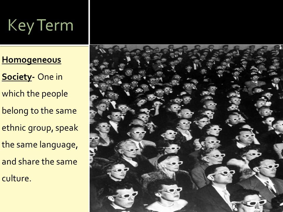 Key Term Homogeneous Society- One in which the people belong to the same ethnic group, speak the same language, and share the same culture.