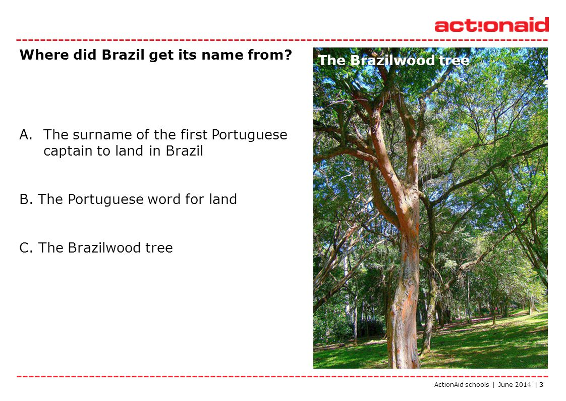 ActionAid schools | June 2014 | 3 Where did Brazil get its name from? A.The surname of the first Portuguese captain to land in Brazil B. The Portugues