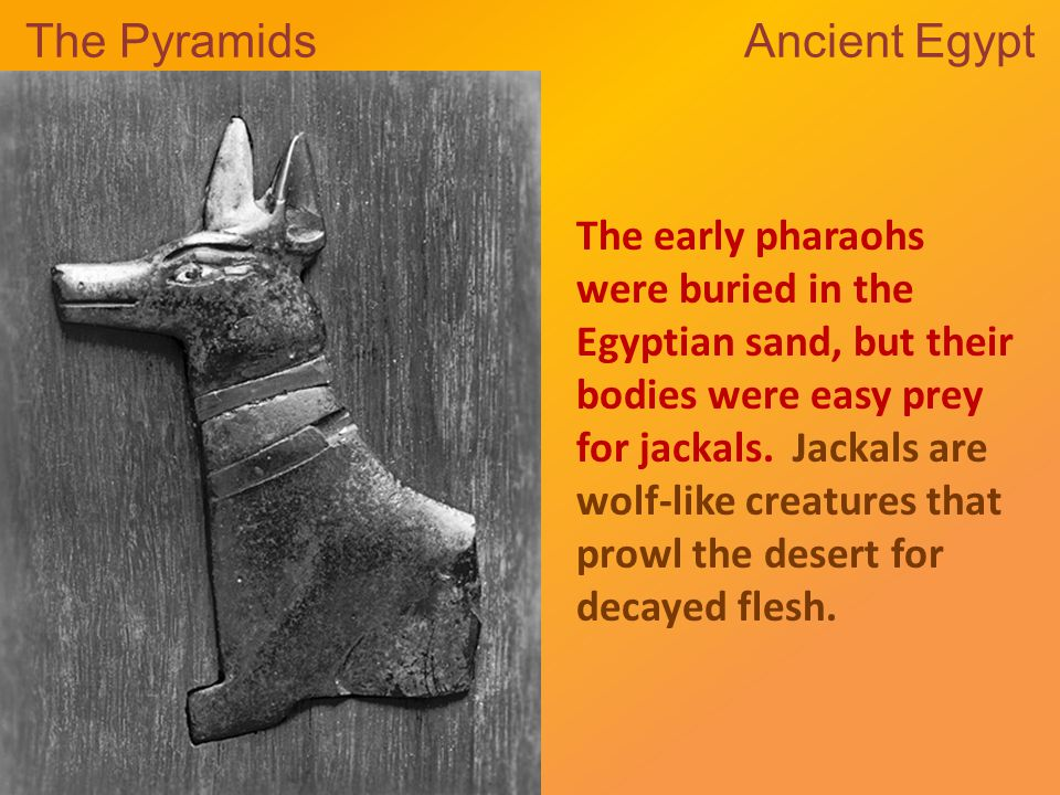 The Pyramids Ancient Egypt The early pharaohs were buried in the Egyptian sand, but their bodies were easy prey for jackals.