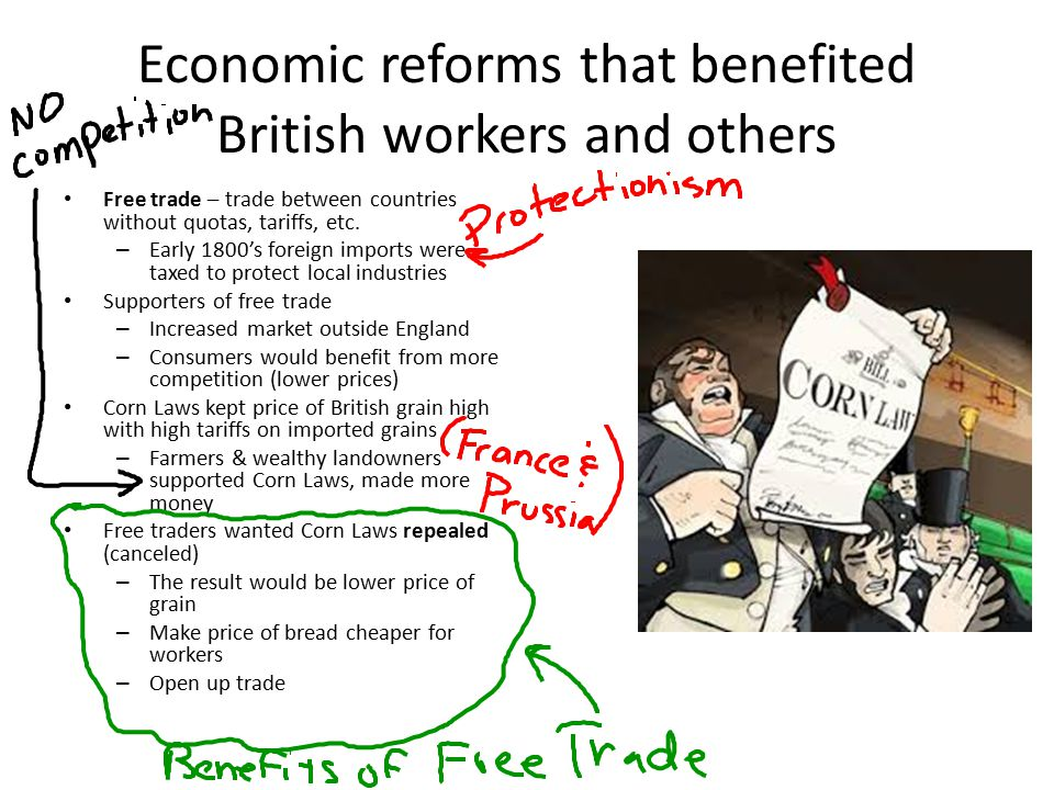 Economic reforms that benefited British workers and others Free trade – trade between countries without quotas, tariffs, etc.