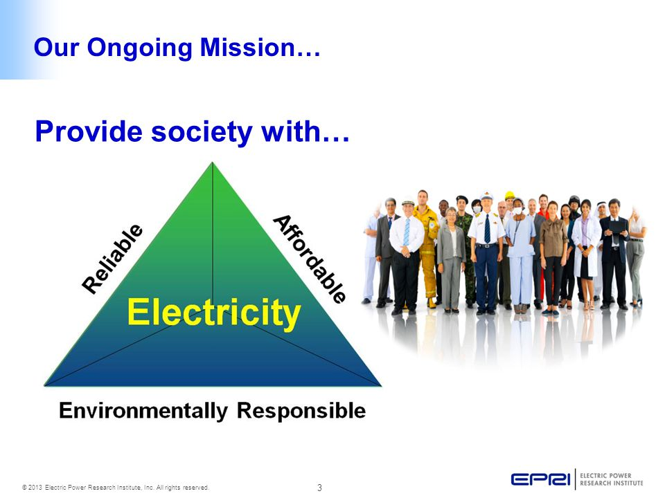 3 © 2013 Electric Power Research Institute, Inc. All rights reserved.