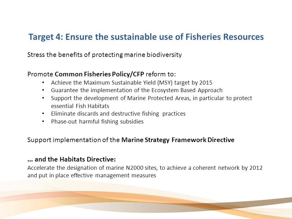 Target 4: Ensure the sustainable use of Fisheries Resources Promote Common Fisheries Policy/CFP reform to: Achieve the Maximum Sustainable Yield (MSY) target by 2015 Guarantee the implementation of the Ecosystem Based Approach Support the development of Marine Protected Areas, in particular to protect essential Fish Habitats Eliminate discards and destructive fishing practices Phase-out harmful fishing subsidies Stress the benefits of protecting marine biodiversity Support implementation of the Marine Strategy Framework Directive...
