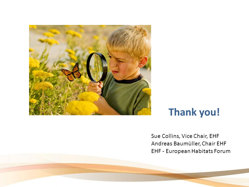Thank you! Sue Collins, Vice Chair, EHF Andreas Baumüller, Chair EHF EHF - European Habitats Forum