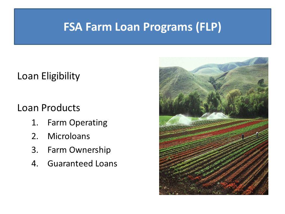 FSA Farm Loan Programs (FLP) Loan Eligibility Loan Products 1.Farm Operating 2.Microloans 3.Farm Ownership 4.Guaranteed Loans