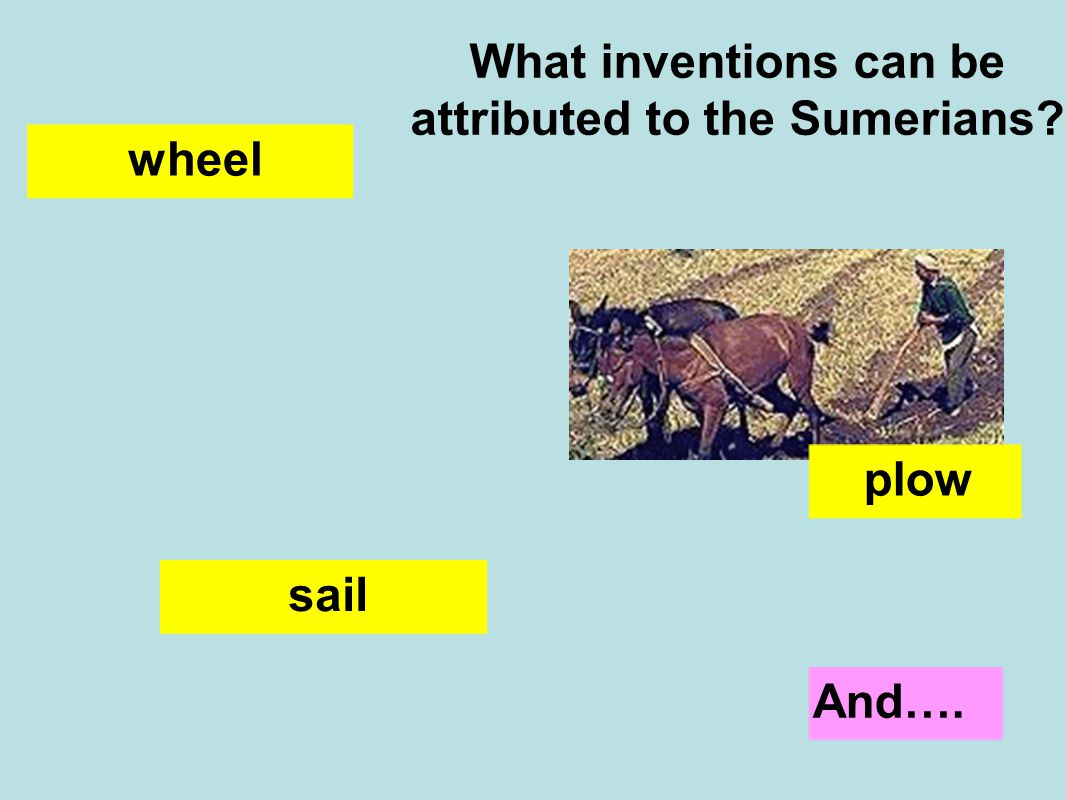 What inventions can be attributed to the Sumerians wheel sail plow And….