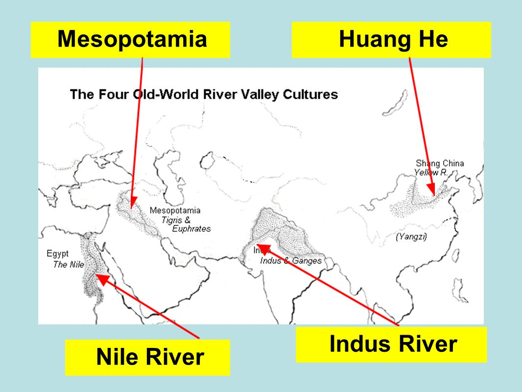 Nile River Mesopotamia Indus River Huang He