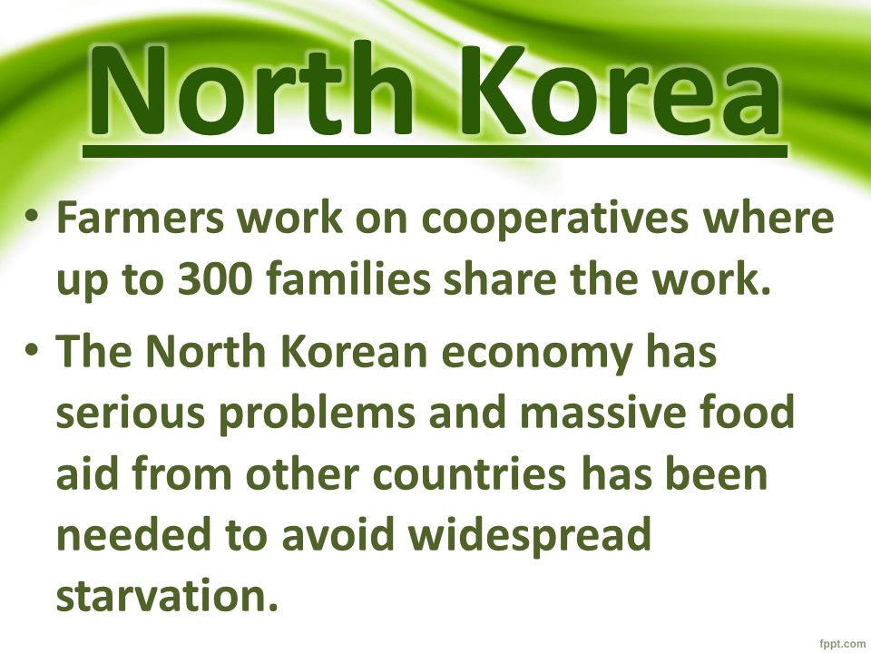 Farmers work on cooperatives where up to 300 families share the work. The North Korean economy has serious problems and massive food aid from other co