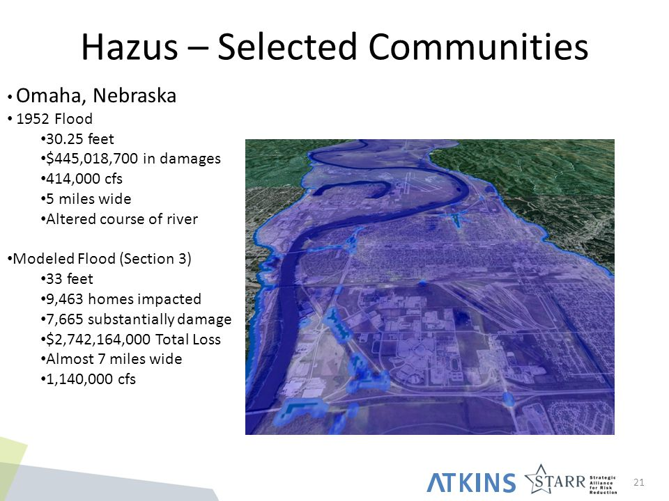Hazus – Selected Communities 21 Omaha, Nebraska 1952 Flood 30.25 feet $445,018,700 in damages 414,000 cfs 5 miles wide Altered course of river Modeled Flood (Section 3) 33 feet 9,463 homes impacted 7,665 substantially damage $2,742,164,000 Total Loss Almost 7 miles wide 1,140,000 cfs