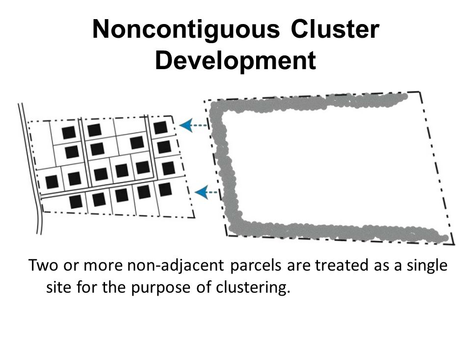 Noncontiguous Cluster Development Two or more non-adjacent parcels are treated as a single site for the purpose of clustering.