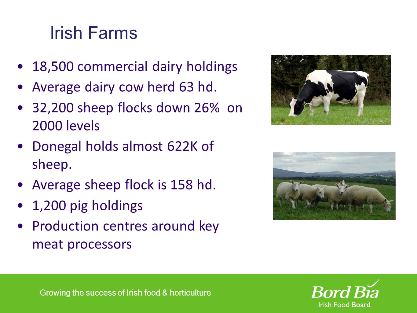 Growing the success of Irish food & horticulture Irish Farms 18,500 commercial dairy holdings Average dairy cow herd 63 hd. 32,200 sheep flocks down 2