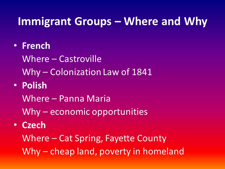 Immigrant Groups – Where and Why French Where – Castroville Why – Colonization Law of 1841 Polish Where – Panna Maria Why – economic opportunities Cze