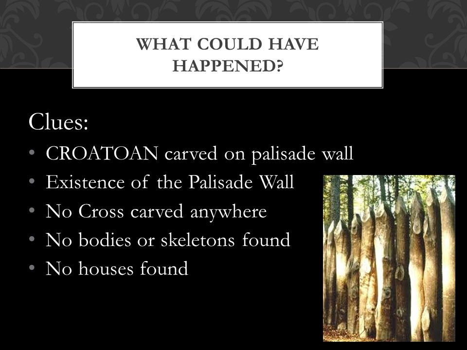 Theories: Massacred by local Native Americans Massacred by the Spanish Assimilated into a Native American Tribe Wiped out by Disease Wiped out by Starvation Moved somewhere else with better conditions (farmland) Other