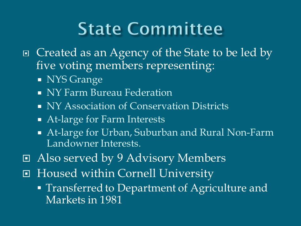  Created as an Agency of the State to be led by five voting members representing:  NYS Grange  NY Farm Bureau Federation  NY Association of Conser