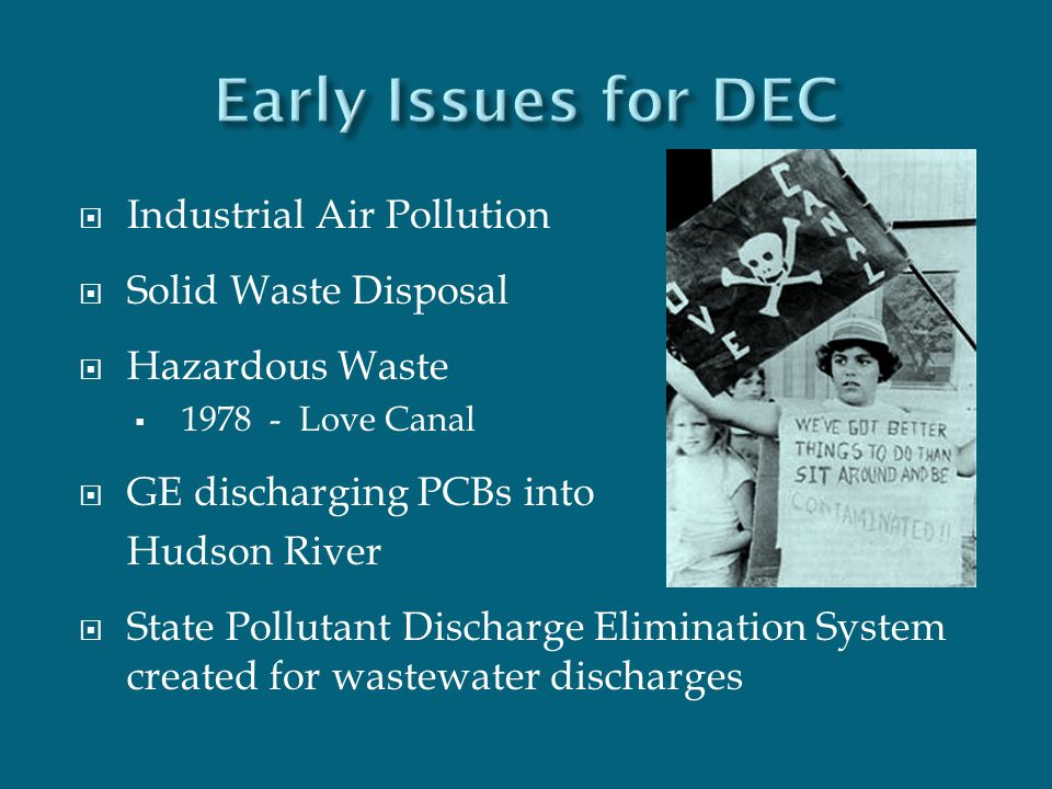  Industrial Air Pollution  Solid Waste Disposal  Hazardous Waste  1978 - Love Canal  GE discharging PCBs into Hudson River  State Pollutant Disc
