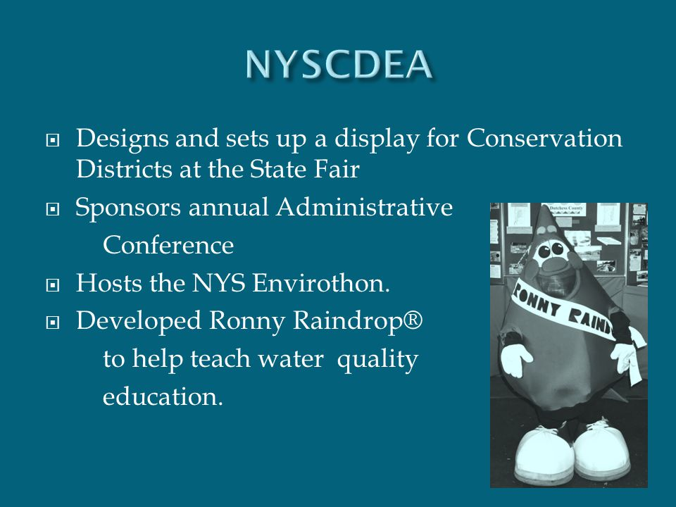  Designs and sets up a display for Conservation Districts at the State Fair  Sponsors annual Administrative Conference  Hosts the NYS Envirothon. 