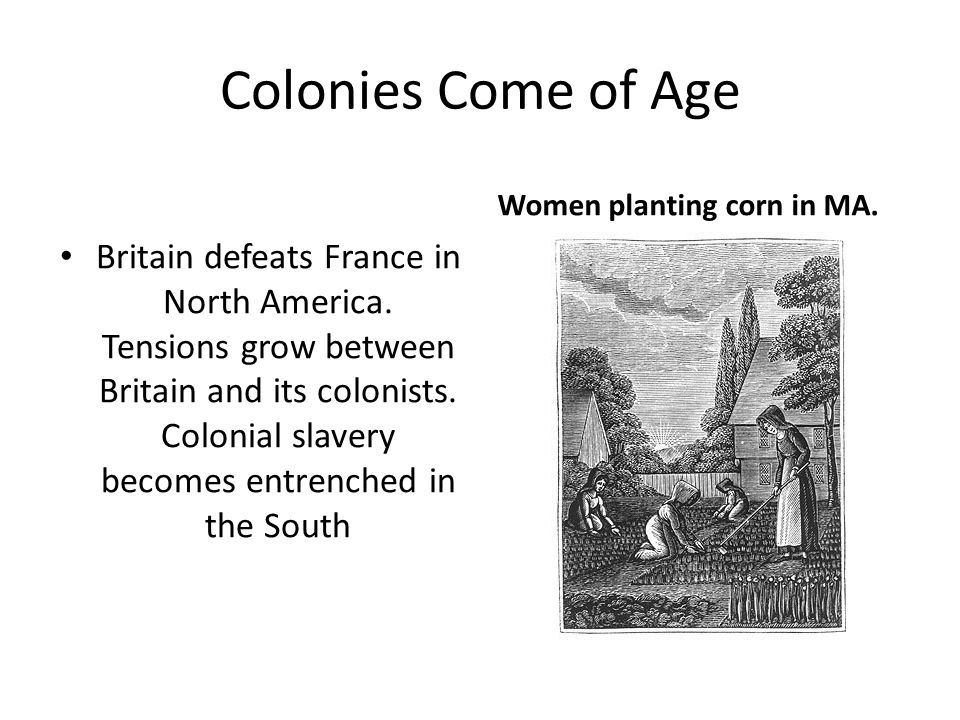 England & Its Colonies England and its largely self governing colonies prosper under a mutually beneficial trade relationship