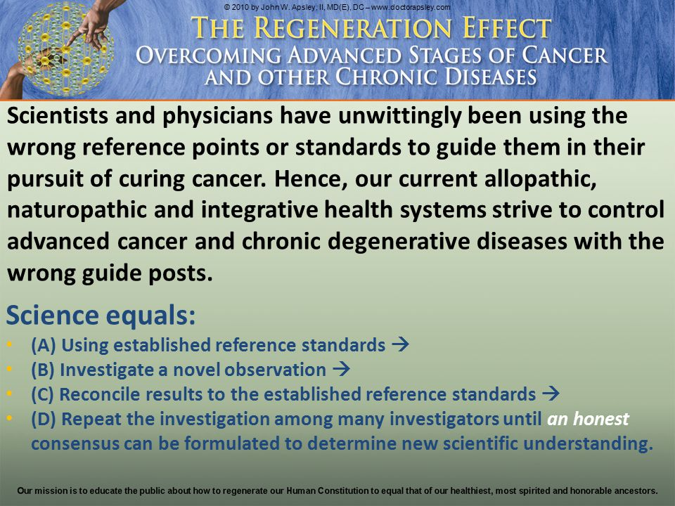 First, established science must only use reference points that accurately reflect reality as it is.