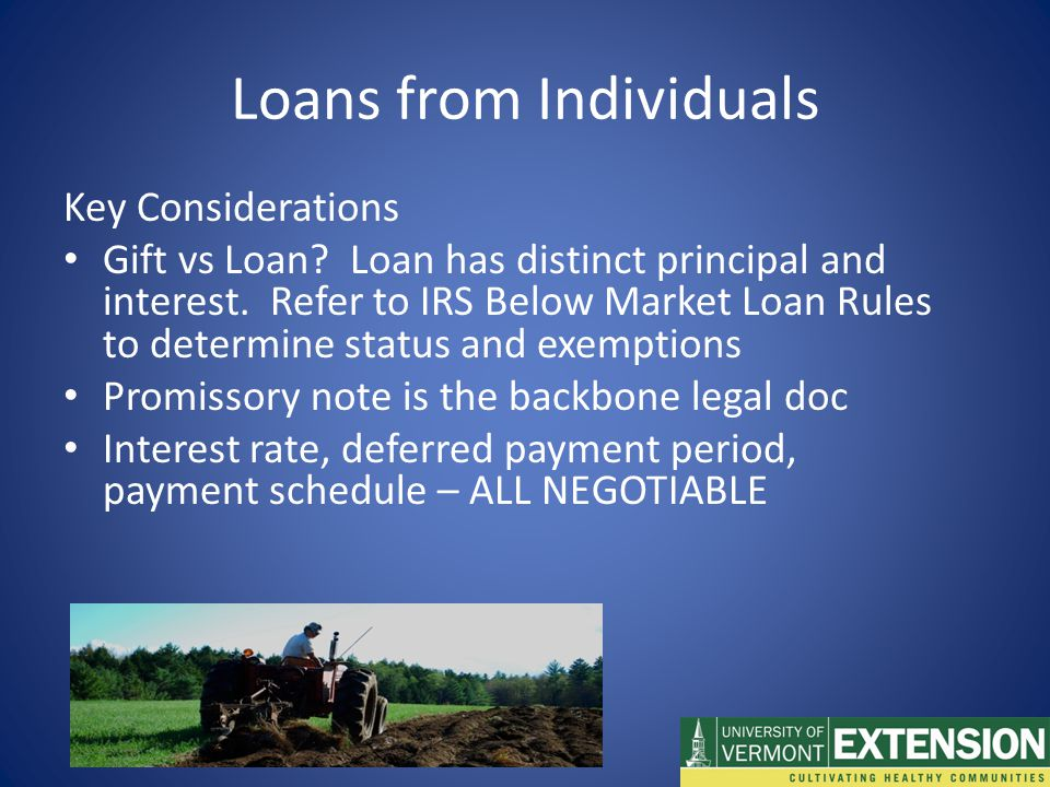 Key Considerations Gift vs Loan. Loan has distinct principal and interest.