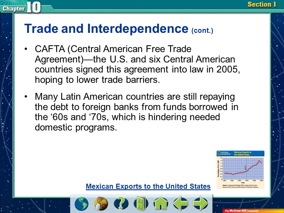 Section 1 Trade and Interdependence (cont.) CAFTA (Central American Free Trade Agreement)—the U.S.
