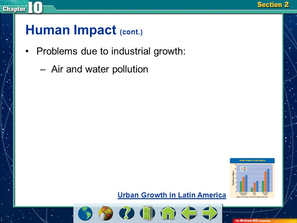 Section 2 Human Impact (cont.) Problems due to industrial growth: –Air and water pollution Urban Growth in Latin America