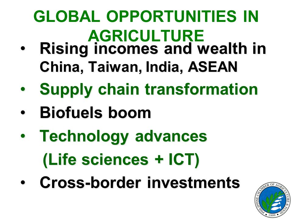 GLOBAL OPPORTUNITIES IN AGRICULTURE Rising incomes and wealth in China, Taiwan, India, ASEANRising incomes and wealth in China, Taiwan, India, ASEAN S