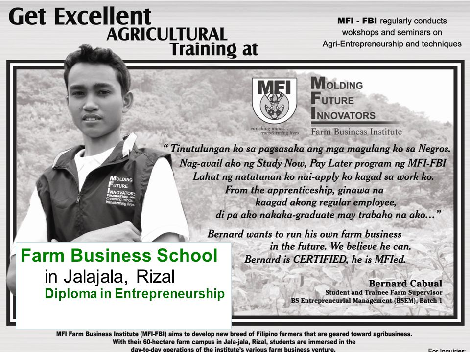 Farm Business School in Jalajala, Rizal Diploma in Entrepreneurship