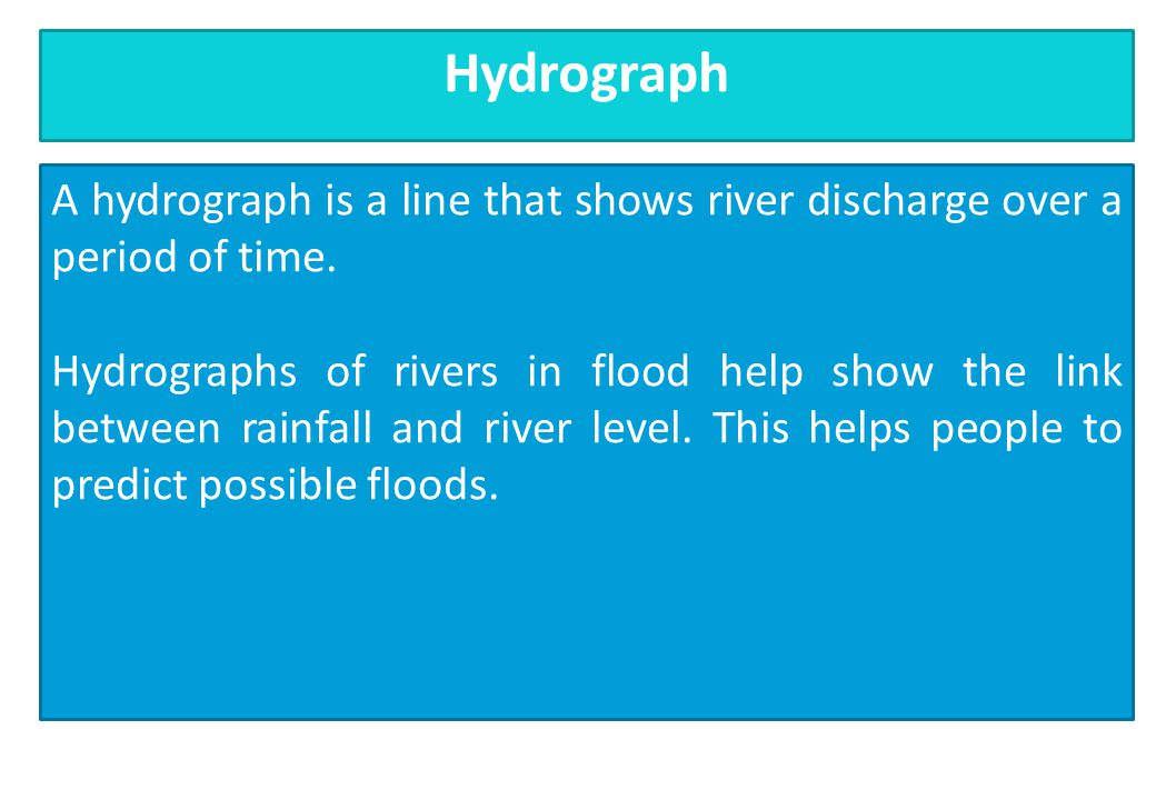 A hydrograph is a line that shows river discharge over a period of time. Hydrographs of rivers in flood help show the link between rainfall and river
