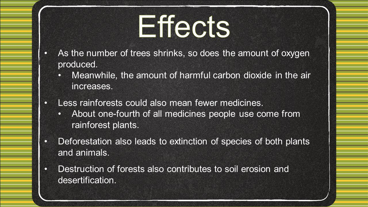 As the number of trees shrinks, so does the amount of oxygen produced.