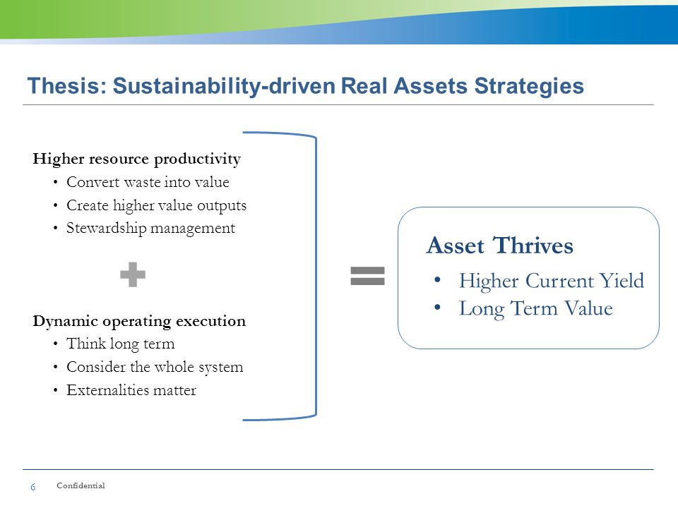 Thesis: Sustainability-driven Real Assets Strategies Higher resource productivity Convert waste into value Create higher value outputs Stewardship management Dynamic operating execution Think long term Consider the whole system Externalities matter 6 Higher Current Yield Long Term Value Confidential Asset Thrives
