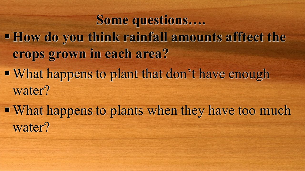 Some questions….  How do you think rainfall amounts afftect the crops grown in each area?  What happens to plant that don't have enough water?  Wha
