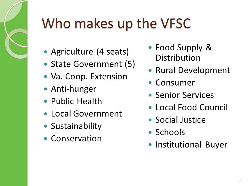 Who makes up the VFSC Agriculture (4 seats) State Government (5) Va.