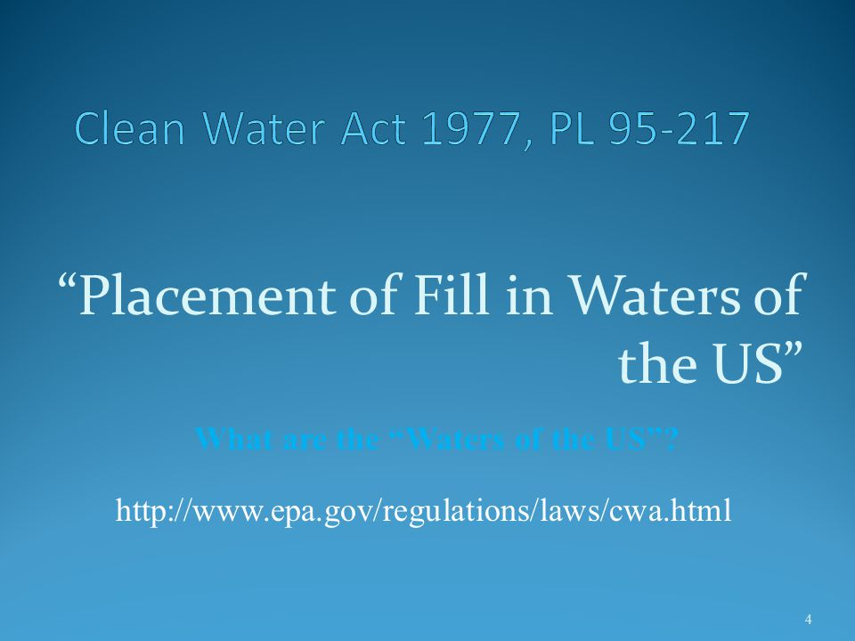 Clean Water Act 1977, PL 95-217 The Clean Water Act is the principle law governing pollution control and water quality of the nation's waterways.