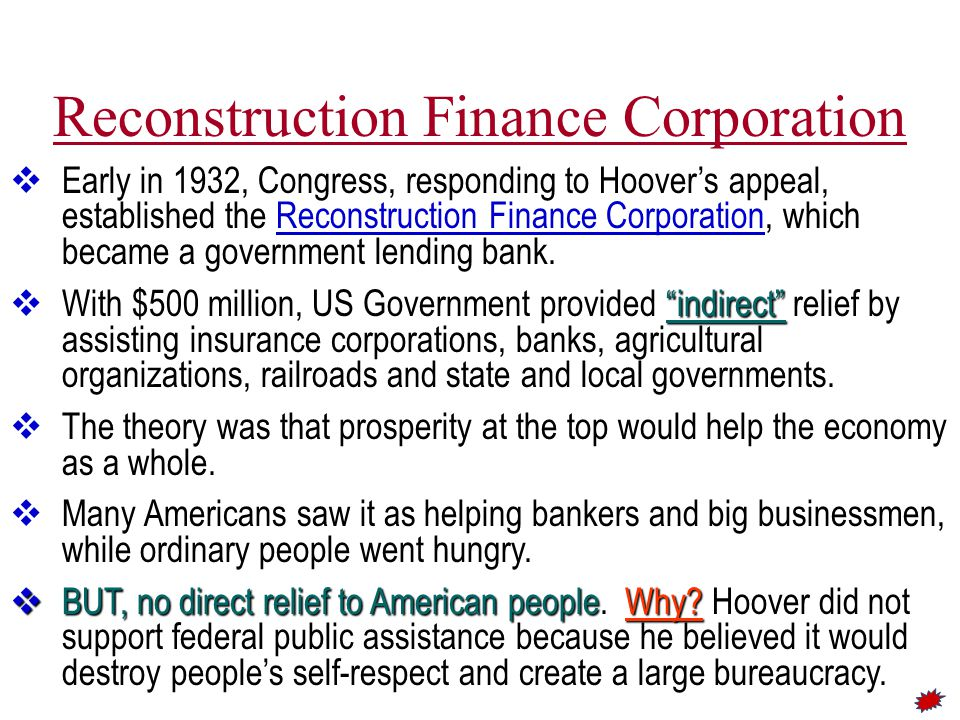 Pumping Money Into the Economy ► Hoover asked the Federal Reserve Board to pump more money into circulation.