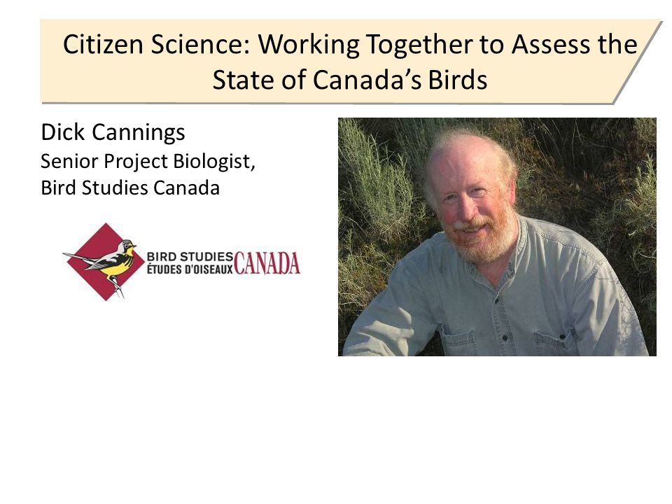Citizen Science: Working Together to Assess the State of Canada's Birds Dick Cannings Senior Project Biologist, Bird Studies Canada