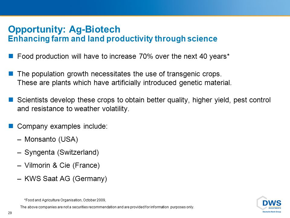 29 Opportunity: Ag-Biotech Enhancing farm and land productivity through science *Food and Agriculture Organisation, October 2009, Food production will