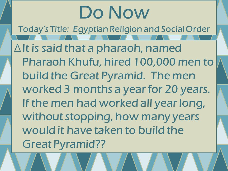 Question 7 ∆What were the religious beliefs that the Egyptians had.