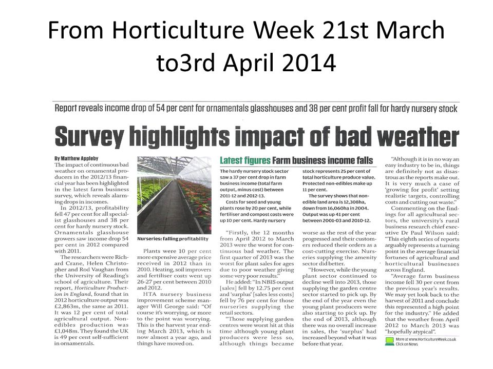 From Horticulture Week 21st March to3rd April 2014