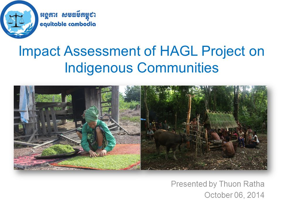 Impact Assessment of HAGL Project on Indigenous Communities Presented by Thuon Ratha October 06, 2014