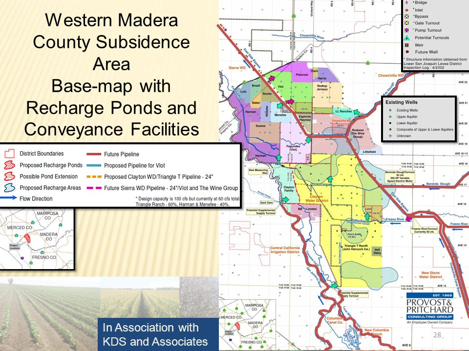 28 Western Madera County Subsidence Area Base-map with Recharge Ponds and Conveyance Facilities In Association with KDS and Associates